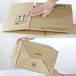 GBOX Gefahrgutkartons mit Automatikboden. Effiziente Aufklappautomatik für Gefahrgutverpackugen