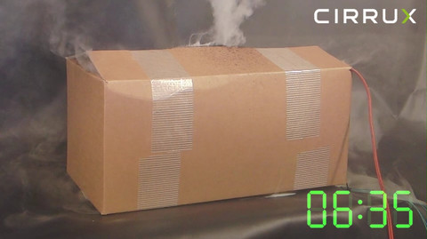 CIRRUX Polstermaterial für den Versand von Lithiumbatterien in Gefahrgutkartons. Brandtest Foto 05 – Gefahrgutbeauftragter.
