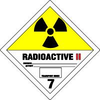 Gefahrgutetiketten / Gefahrgutaufkleber RADIOAKTIVITÄT RADIOACTIVE. Gefahrgutklasse 7II. Für Kennzeichnung von Gefahrgutverpackungen > ALEX BREUER Onlineshop