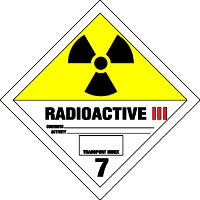 Gefahrgutetiketten / Gefahrgutaufkleber RADIOAKTIVITÄT RADIOACTIVE. Gefahrgutklasse 7III. Für Kennzeichnung von Gefahrgutverpackungen > ALEX BREUER Onlineshop