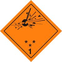 Gefahrgutetiketten / Gefahrgutaufkleber EXPLOSIONSGEFAHR Gefahrgutklasse 1. Für Kennzeichnung von Gefahrgutverpackungen > ALEX BREUER Onlineshop