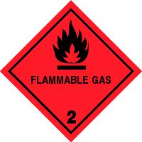Gefahrgutetiketten / Gefahrgutaufkleber FLAMMABLE GAS Gefahrgutklasse 2. Für Kennzeichnung von GBOX Gefahrgutverpackungen > ALEX BREUER Onlineshop