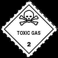 Gefahrgutetiketten / Gefahrgutaufkleber TOXIC GAS Gefahrgutklasse 2. Für Kennzeichnung von GBOX Gefahrgutverpackungen > ALEX BREUER Onlineshop