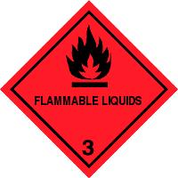 Gefahrgutetiketten / Gefahrgutaufkleber FLAMMABLE Gefahrgutklasse 3. Für Kennzeichnung von GBOX Gefahrgutverpackungen > ALEX BREUER Onlineshop