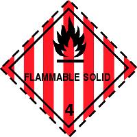 Gefahrgutetiketten / Gefahrgutaufkleber FLAMMABLE SOLID Gefahrgutklasse 4. Für Kennzeichnung von GBOX Gefahrgutverpackungen > ALEX BREUER Onlineshop