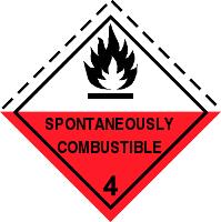Gefahrgutetiketten / Gefahrgutaufkleber SPONTANEOUSLY COMBUSTIBLE Gefahrgutklasse 4. Für Kennzeichnung von GBOX Gefahrgutverpackungen > ALEX BREUER Onlineshop