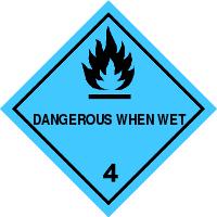 Gefahrgutetiketten / Gefahrgutaufkleber DANGEROUS WHEN WET Gefahrgutklasse 4. Für Kennzeichnung von GBOX Gefahrgutverpackungen > ALEX BREUER Onlineshop