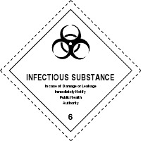 Gefahrgutetiketten / Gefahrgutaufkleber INFECTIOUS SUBSTANCE Gefahrgutklasse 6. Für Kennzeichnung von GBOX Gefahrgutverpackungen > ALEX BREUER Onlineshop