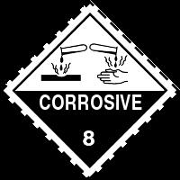 Gefahrgutetiketten / Gefahrgutaufkleber / Gefahrzettel CORROSIVE. Für Kennzeichnung von Gefahrgutverpackungen Gefahrgutklasse 8 > ALEX BREUER Onlineshop kaufen
