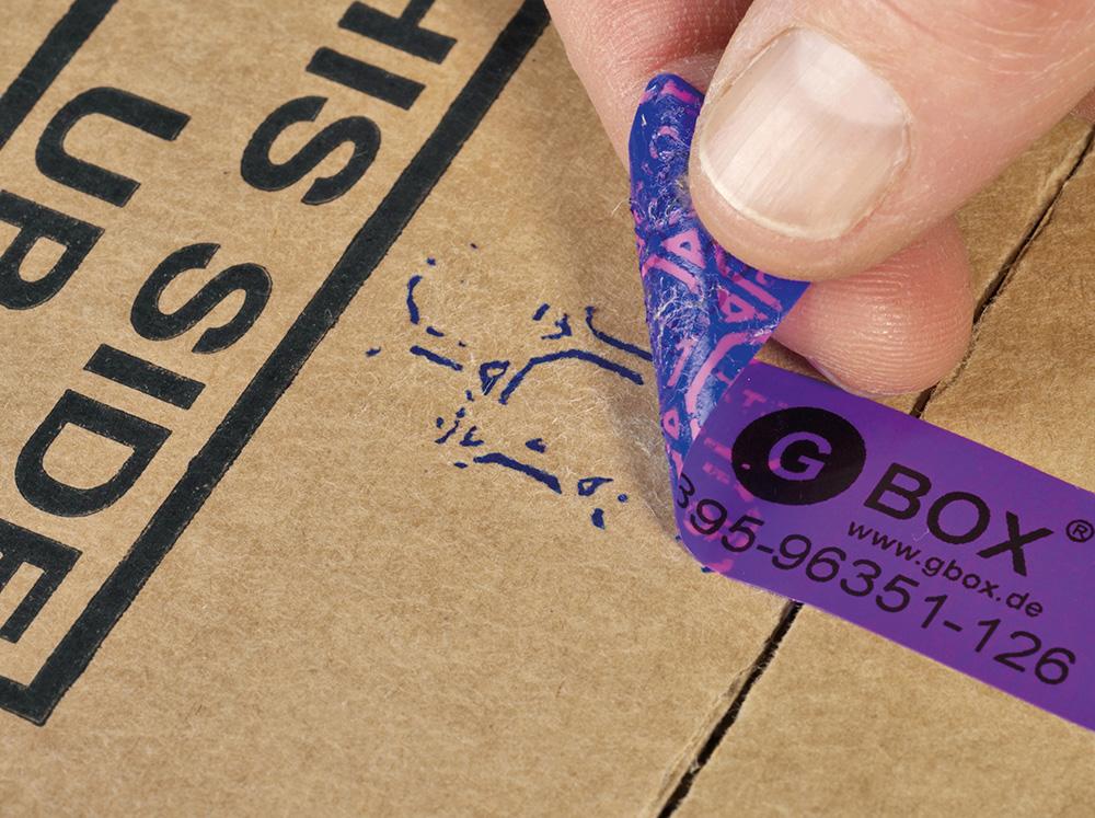 GBOX Sicherheitssiegel / Security Seal für Gefahrgutverpackungen und Gefahrgutkartons. Etikett zum Originalitätsverschluss von Kartons. Mit durchlaufender Nummer. Jetzt im ALEX BREUER Onlineshop kaufen.